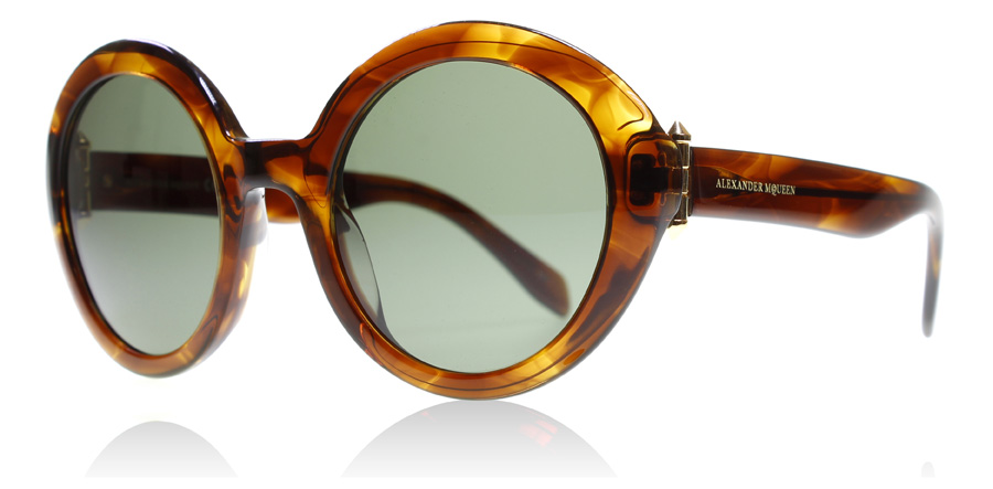 Compare retail prices of Alexander McQueen AM0002S Sunglasses Havana Green 002 51mm to get the best deal online