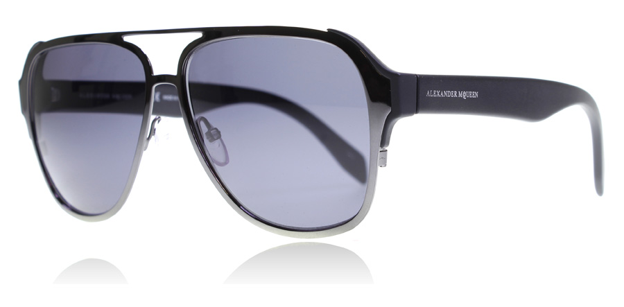 Compare retail prices of Alexander McQueen AM0012S Sunglasses Ruthenium Black Smoke 003 58mm to get the best deal online