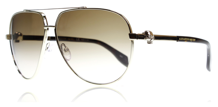 Compare prices for Alexander McQueen AM0018S Sunglasses Gold Brown 002 63mm