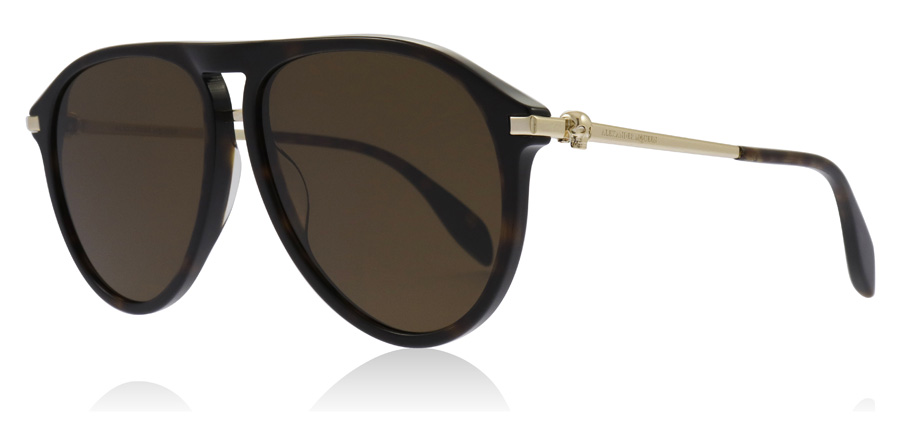 Compare prices for Alexander McQueen AM0134S Sunglasses Havana / Gold / Brown 002 60mm