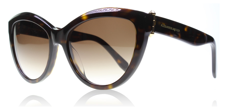 Compare retail prices of Alexander McQueen AM0003S Sunglasses Brown / Tortoise 002 56mm to get the best deal online