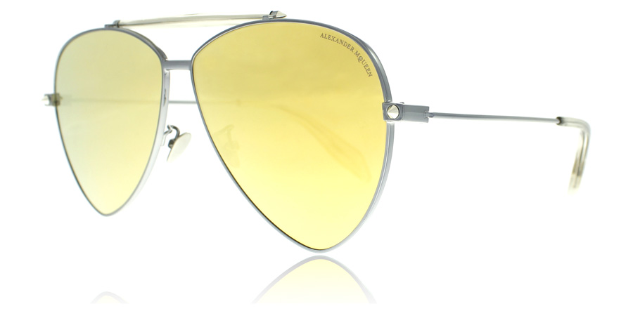 Compare retail prices of Alexander McQueen 0058S Sunglasses Ruthenium Gold 003 63mm to get the best deal online