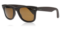 Ray-Ban 2140QM Wayfarer Leather Brown Leather 1153N6 Polarised
