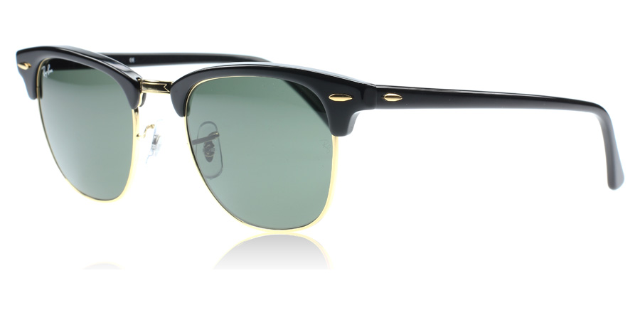 ray ban clubmaster glasses  ray ban 3016 clubmaster sunglasses : 3016 clubmaster black 3016 large 51mm : us