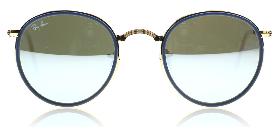 ray ban round folding classic sunglasses  ray ban 3517 round folding classic gold and blue