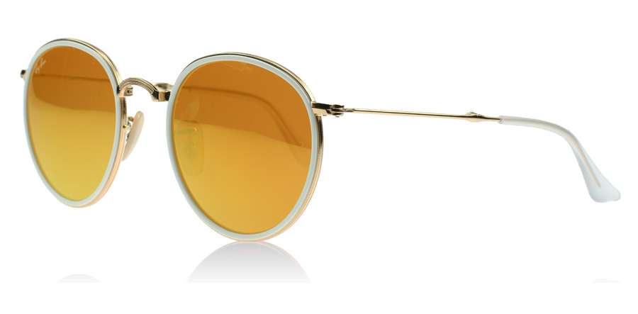 ray ban round folding classic sunglasses  ray ban 3517 round folding classic gold and white 001/93. price: $ 113