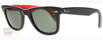 Ray-Ban 2140 Wayfarer Svart och Röd baksida med Vit Ray-Ban Text 1016 Small 47mm